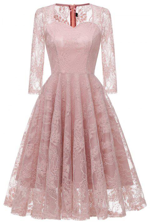 a9fbfbcdf969 2019 Lace Embroidery Seven Point Sleeve Evening Dress In PINK L ...
