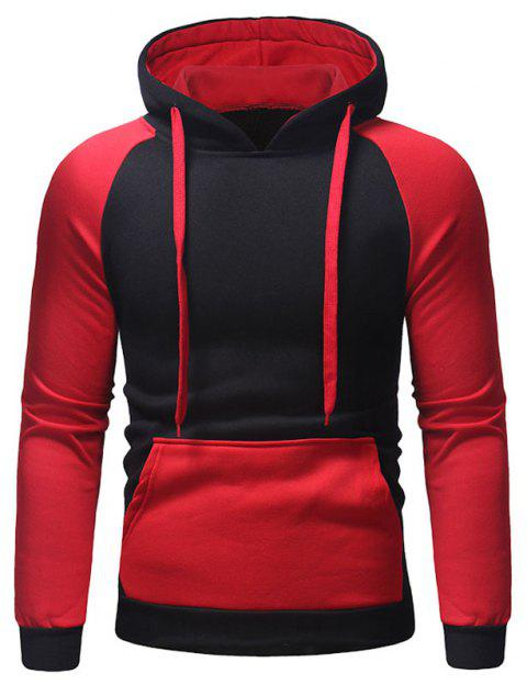 Men's Autumn And Winter Hooded Blue Patchwork Clothes - RED 3XL