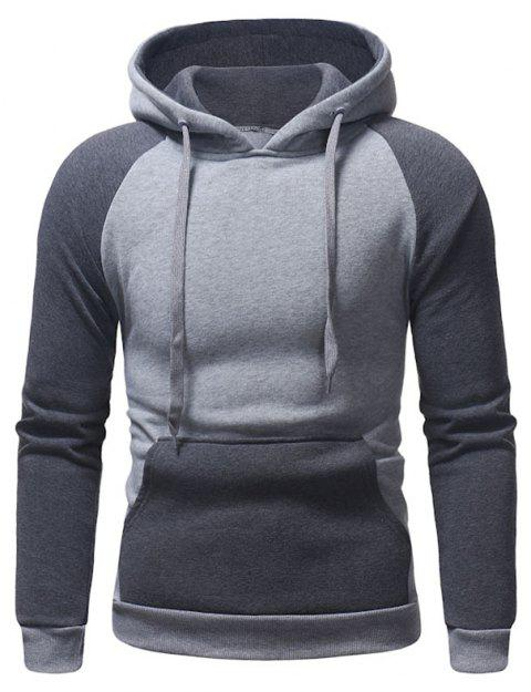 Men's Autumn And Winter Hooded Blue Patchwork Clothes - LIGHT GRAY XL