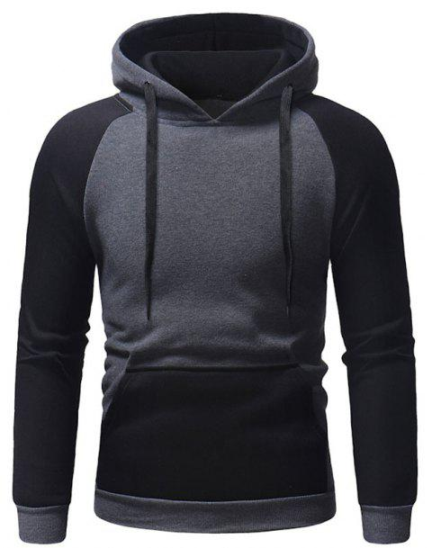Men's Autumn And Winter Hooded Blue Patchwork Clothes - DARK GRAY L