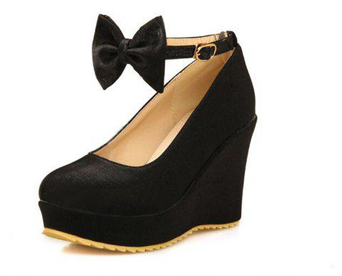 Thick Bottom Bow Bow Head Fashionable Wedding Shoes - BLACK EU 39