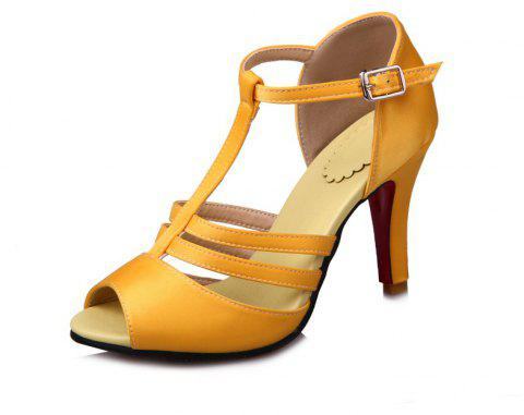 High Heel T Button Red Banquet Sandals - YELLOW EU 46