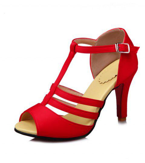 High Heel T Button Red Banquet Sandals - RED EU 39