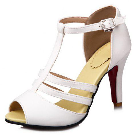 High Heel T Button Red Banquet Sandals - CRYSTAL CREAM EU 36