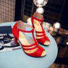 High Heel T Button Red Banquet Sandals - RED EU 32