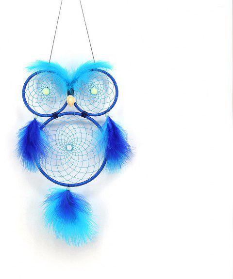 Noctilucent Owl Dreamnet Handmade Feather Wall Decoration - OCEAN BLUE 66*16CM