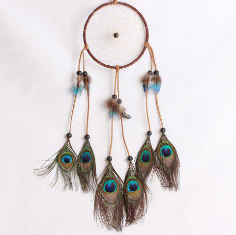 Lace Dream Catcher Feather Bead Hanging Decoration Ornament Gift - multicolor 55*13CM