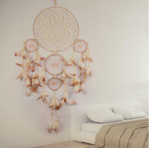 Handmade Dream Catcher Hanging Wind Chimes Feather Pendant - CAMEL BROWN 65*23CM