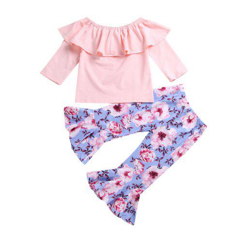 Pink Chest Top + Flower Trumpet Pants - PINK M