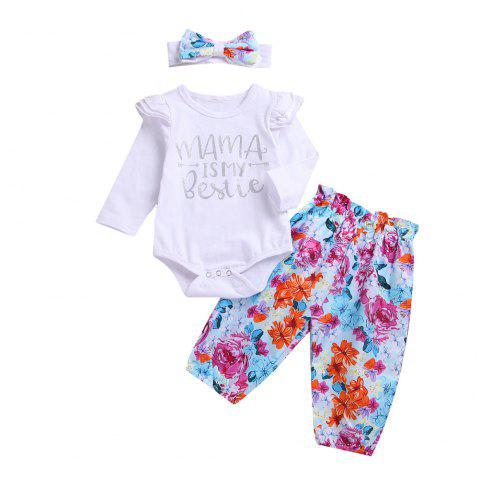 High Quality White Kazakhstan/Floral Trousers/Headband/Three Piece Set - WHITE M