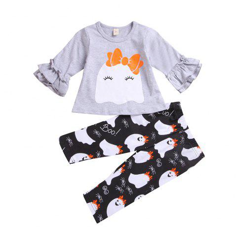 Lovely Ghost Trumpet Sleeves Ghost Print Pants - COOL WHITE M