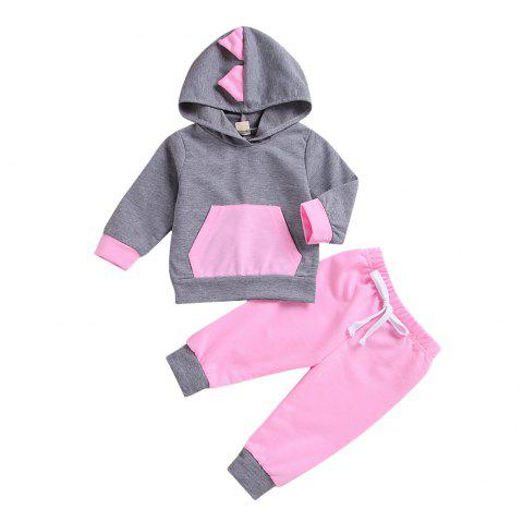 SUN 9C High Quality New Dinosaur Sweater + Pink Trousers Two Piece - PINK 1XL
