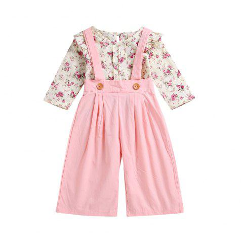 Children'S Wear High Quality Girl'S Cherry Blossom Shirt + Suspenders A Trousers - PINK M