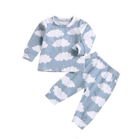 Light Blue Cloud Print Jacket Plus Cloud Print Pants Two Piece Set. - CELESTE S