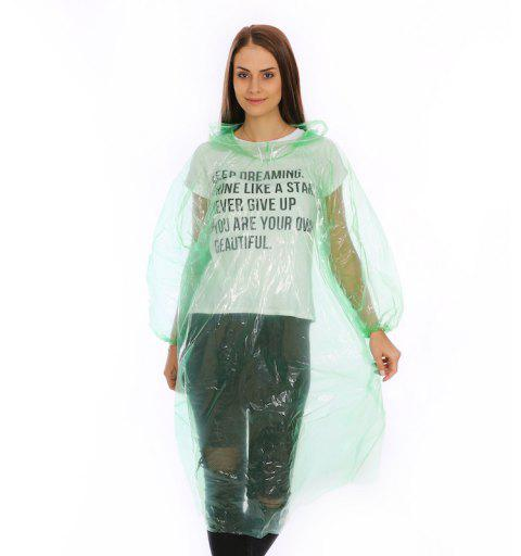 Emergency Disposable Raincoat for Adults with Drawstring Hood and Elastic Sleeve - CLOVER GREEN