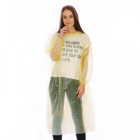Emergency Disposable Raincoat for Adults with Drawstring Hood and Elastic Sleeve - YELLOW