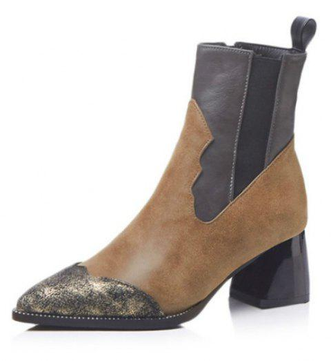 Short Pointed Shoes with Rough and Loose Boots - BROWN EU 35
