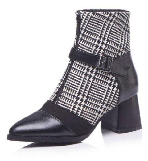 Tipped Head and Heel Stitching Boots - BLACK EU 37