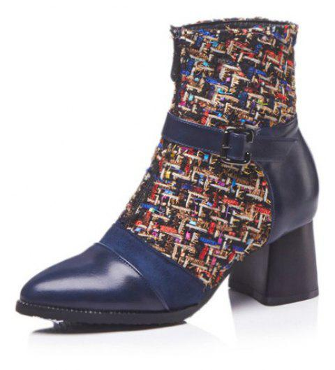 Tipped Head and Heel Stitching Boots - BLUE EU 34