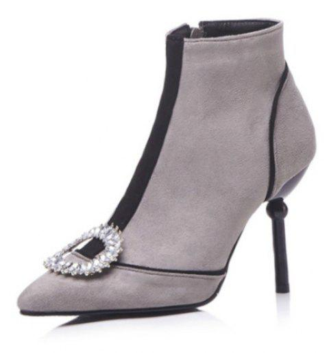 Pointed and High Heeled Sexy Women'S Boots - GRAY EU 38