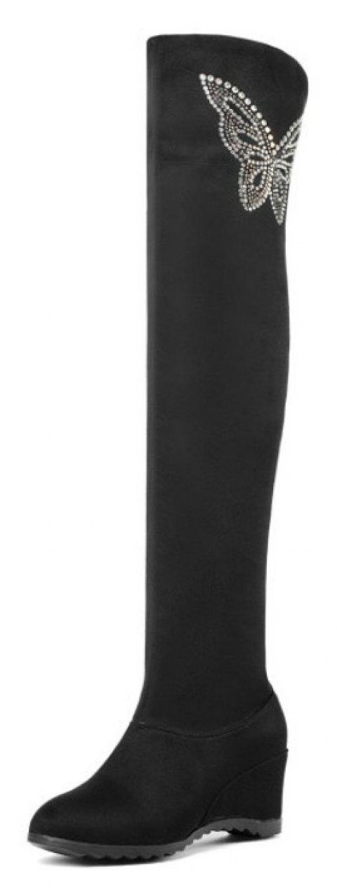 Round Head Slope and Knee Length Boots for Middle and Wild Women - BLACK EU 37