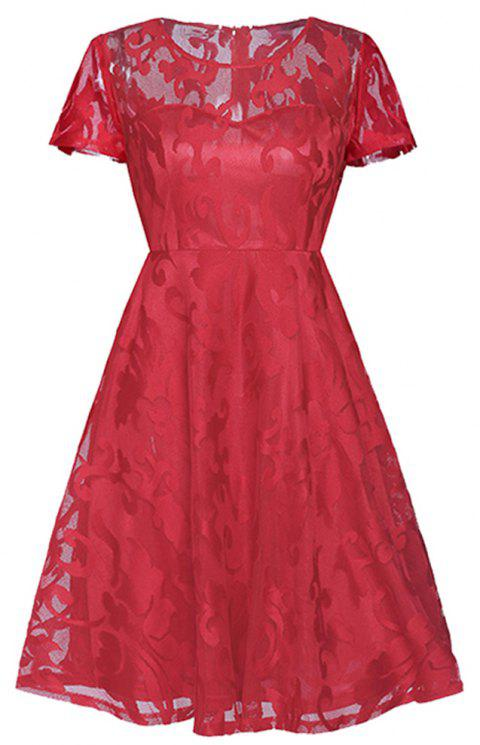 Women's Short Sleeved Pleated Skirt - RED L