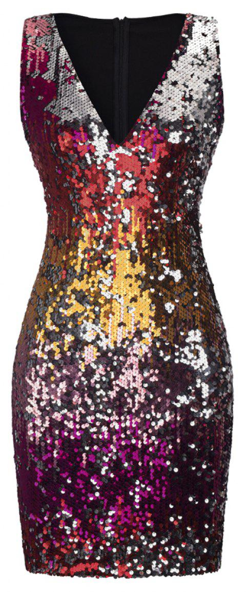 Sexy Sequins Wrapped Hip Skirt Dress - RED L