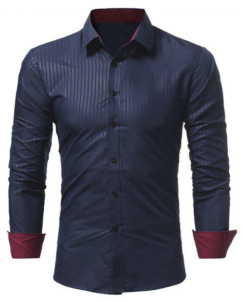 Men's Dark Stripe Embossed Casual Slim Long Sleeve Shirt - CADETBLUE XL