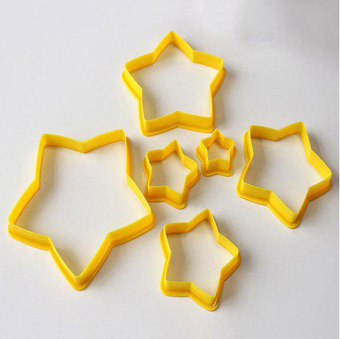 6PC Christmas Tree Cookie Cutters Star Shape Fondant Cake Biscuit Molds - GOLDEN BROWN