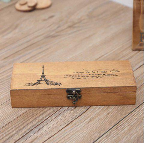 Vintage Craftsmanship Wood Office Stationery And Sundries Collection Box - multicolor 19*7*3.8CM