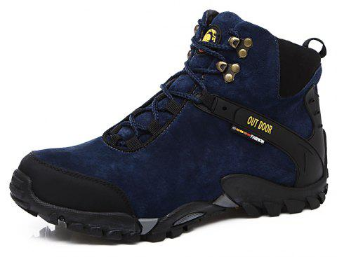 Leather Shoes Safety Shoes Boots Genuine Leather Work Shoes - BLUE EU 45