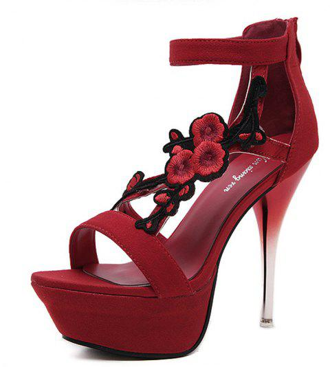 Women's Platform Sandals Elegant Party High Heels Black - RED EU 39