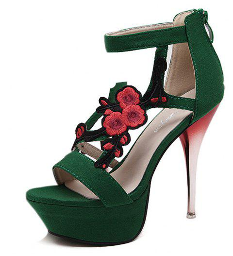 Women's Platform Sandals Elegant Party High Heels Black - PINE GREEN EU 35