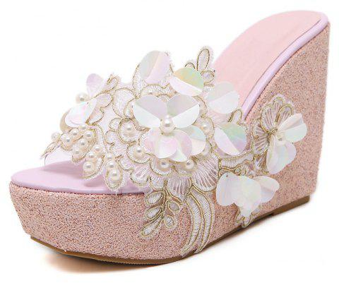 Women's Wedge Shoes Fashion Slippers with Flowers White - LIGHT PINK EU 40