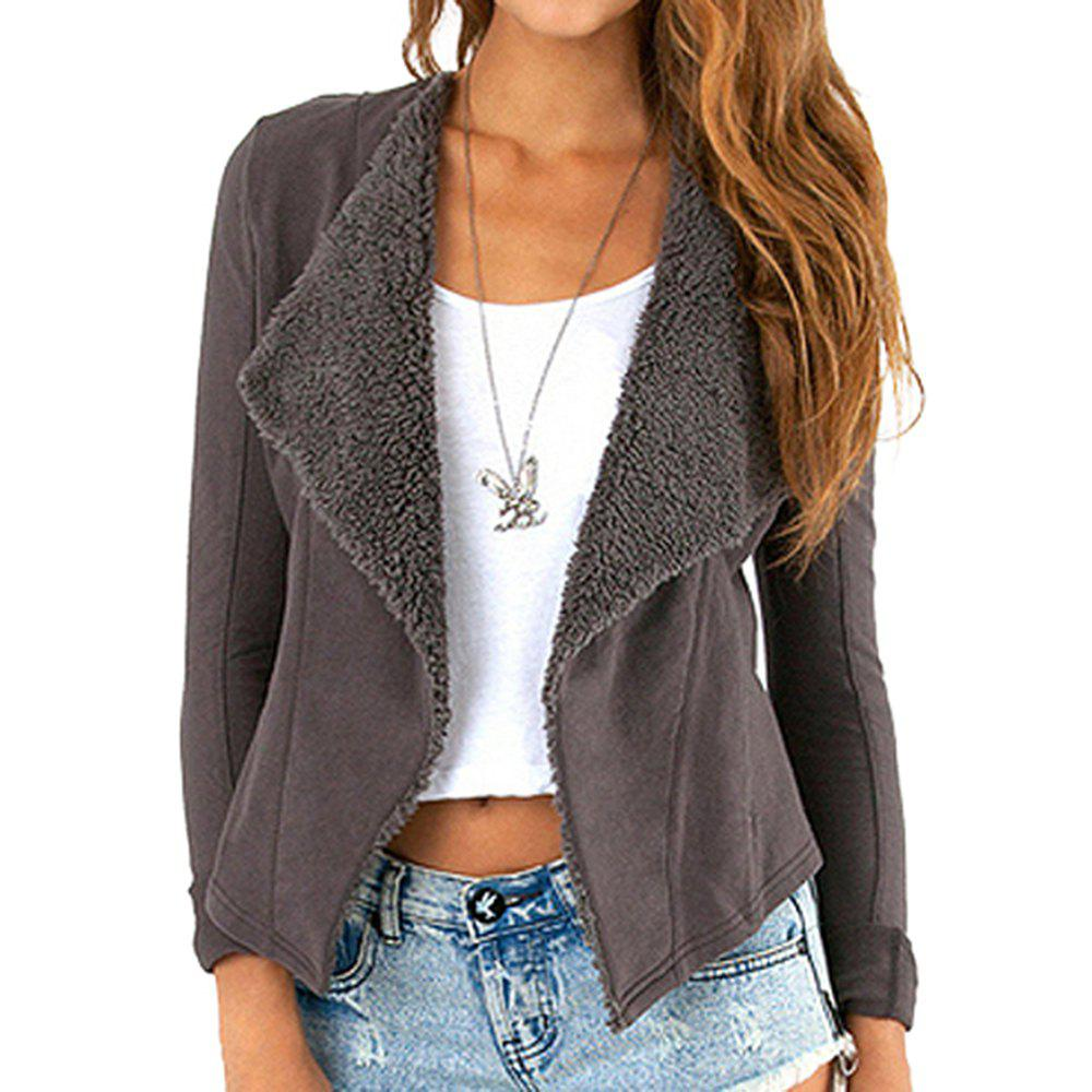HAODUOYI Women's Lapel Buttonless Jacket Slim Suede Jacket Grey