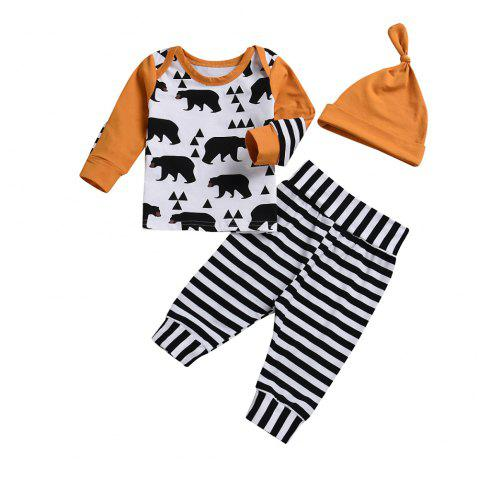 High Quality Children'S Wear + Blouse + Striped Trousers + Hat Three Piece - BEE YELLOW S