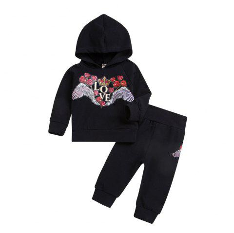 Quality Black Long Sleeved Sweater and Black Trousers Two Piece - BLACK L
