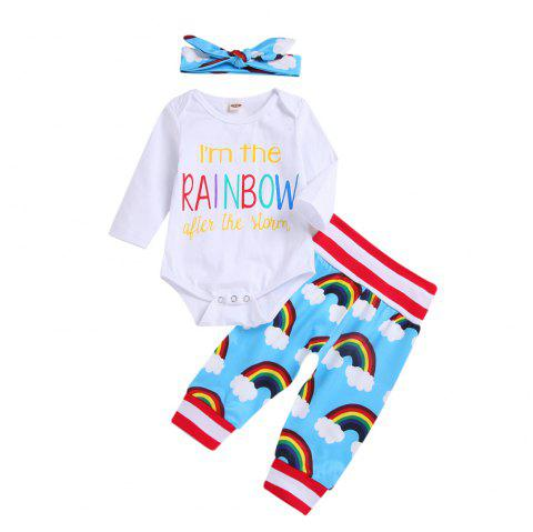 White Long Sleeved + Rainbow Pants Head with Three Piece Sets - WHITE L