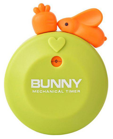 Cute Bunny Kitchen Timer 60 Minutes Mechanical Countdown Reminder - GREEN
