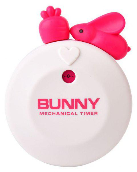 Cute Bunny Kitchen Timer 60 Minutes Mechanical Countdown Reminder - WHITE