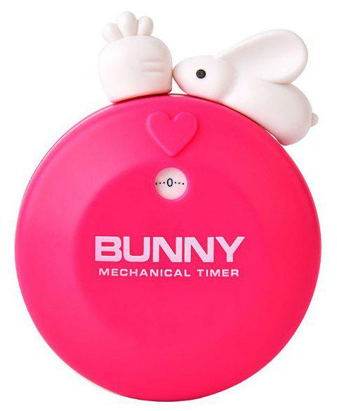 Cute Bunny Kitchen Timer 60 Minutes Mechanical Countdown Reminder - ROSE RED