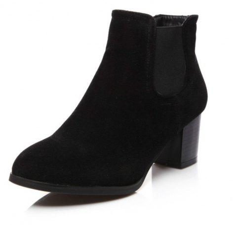 Round Head with Medium and Simple Women'S Boots - BLACK EU 34