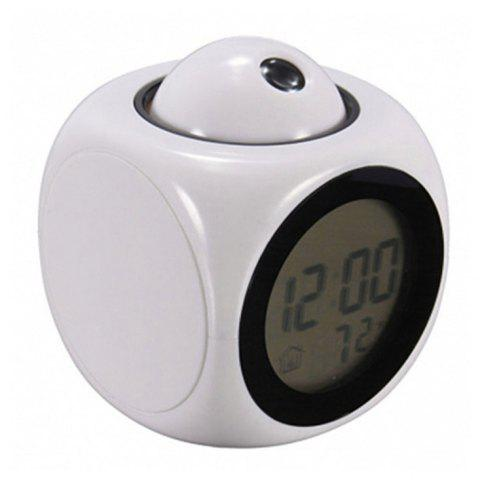 Multifunction LCD Display Voice Talking Projection Time Temp Display Alarm Clock - WHITE