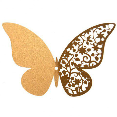 12 pcs Butterfly  Half-hollow Colorful Wall Sticker Room Decoration - GOLD
