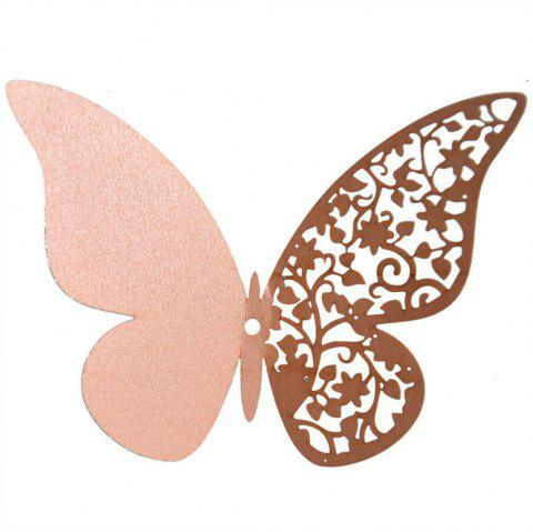 12 pcs Butterfly  Half-hollow Colorful Wall Sticker Room Decoration - PINK