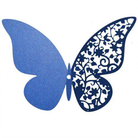 12 pcs Butterfly  Half-hollow Colorful Wall Sticker Room Decoration - BLUE
