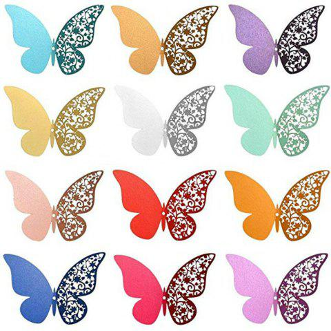 12 pcs Butterfly  Half-hollow Colorful Wall Sticker Room Decoration - multicolor