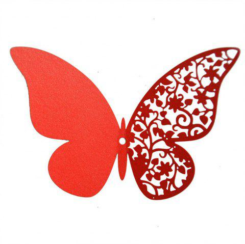 12 pcs Butterfly  Half-hollow Colorful Wall Sticker Room Decoration - RED