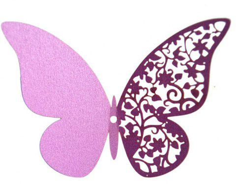 12 pcs Butterfly  Half-hollow Colorful Wall Sticker Room Decoration - MAUVE