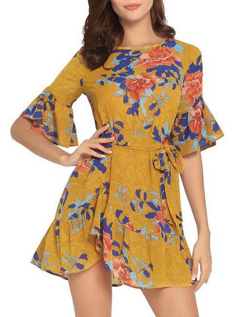 Summer Short Sleeved Round Neck Printed Skirt - YELLOW L